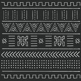 Black and white tribal ethnic pattern with geometric elements, traditional African mud cloth, tribal design. Vector illustration Royalty Free Stock Photos