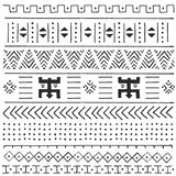 Black and white tribal ethnic pattern with geometric elements, traditional African mud cloth, tribal design. Vector illustration Royalty Free Stock Images