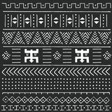 Black and white tribal ethnic pattern with geometric elements, traditional African mud cloth, tribal design. Vector illustration Royalty Free Stock Image
