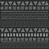 Black and white tribal ethnic pattern with geometric elements, traditional African mud cloth, tribal design. Vector illustration Royalty Free Stock Photography