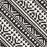 Black and white tribal vector seamless pattern with doodle elements. Aztec abstract art print. Ethnic ornamental hand Royalty Free Stock Images