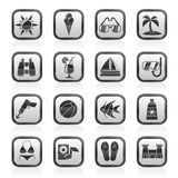 Black and white tropic, beaches and summer icons Stock Photos