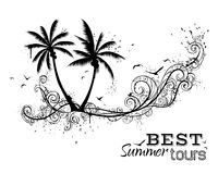 Black and white tropical illustration. Royalty Free Stock Images