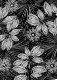 Black and white tropical print. Stock Images