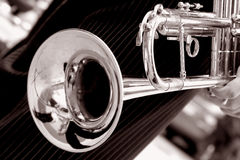 Black and white trumpet. Close up Royalty Free Stock Images