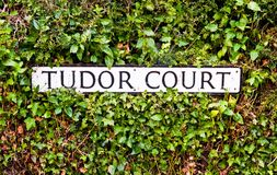 Tudor Court sign in the United Kingdom royalty free stock photo