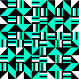 Black white turquoise cubist bauhaus style tileable background Royalty Free Stock Photography