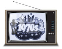 Black and white TV. Black and white 1970s TV set with slogan Stock Images