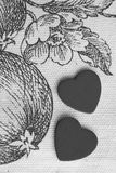 Black and white two heart in Eden garden Stock Image