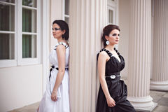 Black and white - two ladies Royalty Free Stock Photos