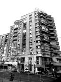 Black&White. Typical block of flates in Bucharest - Bucuresti. Stock Images