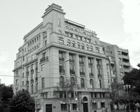 Black&White. Typical building in the center of Bucharest-Bucuresti Stock Photo