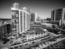 Black and white Ubran Industrial Austin Texas 2016 Skyline Aerial Curved Condos Modern Architecture Stock Photo