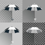 Black and white umbrellas. Flat vector sign Stock Photos