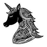 Black and white unicorn tattoo Stock Photos