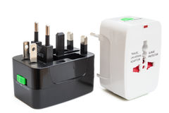 Black and white universal adapters Stock Photography