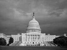 Black and White US Capitol Building Royalty Free Stock Image