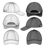 Black and white variants of baseball caps Stock Photos