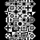 Black and white various moroccan tiles seamless border, vector Royalty Free Stock Photo