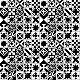 Black and white various moroccan tiles seamless pattern, vector Stock Images