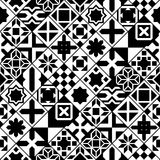 Black and white various moroccan tiles seamless pattern, vector Royalty Free Stock Photo