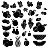Black white vcetor icons - fruits and berries Royalty Free Stock Image