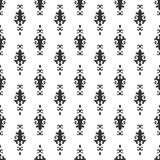 Black and white vector background. Beautiful queen seamless pattern with fleur de lys ornament elements. Royal signs in style of f Stock Image