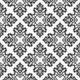 Black and white vector background. Beautiful queen seamless pattern with fleur de lys ornament. Royal sign in style. Vector illust Royalty Free Stock Image