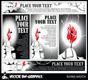 Black and white Vector banner. Burning match in her hand. Stock Image