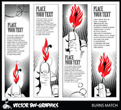 Black and white Vector banner. Burning match in her hand. Royalty Free Stock Photos