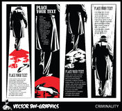 Black and white Vector banner. The killer leaves the scene of the crime. Stock Image