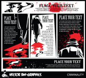 Black and white Vector banner. The killer leaves the scene of the crime. Royalty Free Stock Photography