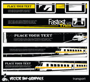 Black and white Vector banner. Railroad and train. Stock Photos