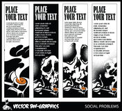 Black and white Vector banner. Vector banner on the theme of the dangers of smoking Stock Photography
