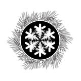 Black and white vector card with snowflake, pine branches. Black and white vector card with snowflake and pine branches wreath Royalty Free Stock Images