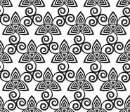 Black and white vector celtic triskels seamless Royalty Free Stock Photo