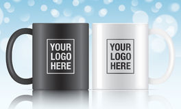 Black and white vector coffee mugs. Black and white vector coffee mug templates isolated on a blue bokeh background. Vector mug mockups for your design Royalty Free Stock Photography