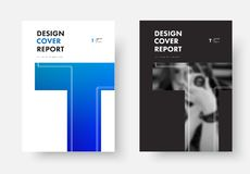 Black and white vector cover design of the annual report with th. E letter T. Template for poster, flyer, brochures with soft blue gradient and photo vector illustration