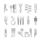 Black and white vector fireworks icons. Festival or party elements. Line carnival illustration. Firecracker set Royalty Free Stock Photos