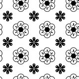Black and White Vector Flower Pattern Stock Image