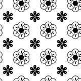 Black and White Vector Flower Pattern stock illustration