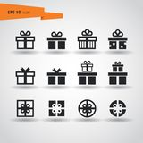 12 Gifts Vector Icon Set. Silhouette on white background. EPS10. Black and white vector gift icons for web and print. Can be colored in any color vector illustration