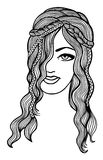 Black and white vector girl sketch Royalty Free Stock Photos