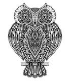 Black and white vector hand drawn ornate  owl Royalty Free Stock Photos