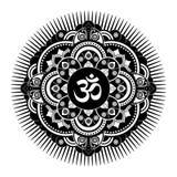 Black and white vector henna tatoo mandala. OM decorative symbol Royalty Free Stock Photography