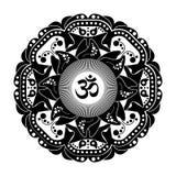 Black and white vector henna tatoo mandala. OM decorative symbol Stock Image