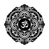 Black and white vector henna tatoo mandala. OM decorative symbol Royalty Free Stock Image