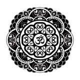 Black and white vector henna tatoo mandala. OM decorative symbol Stock Photo