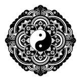 Black and white vector henna tatoo mandala. Yin  yang decorative symbol. China style. Black and white vector henna tatoo mandala. Yin and yang decorative symbol Stock Photography