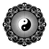 Black and white vector henna tatoo mandala. Yin  yang decorative symbol. China style. Black and white vector henna tatoo mandala. Yin and yang decorative symbol Royalty Free Stock Photo